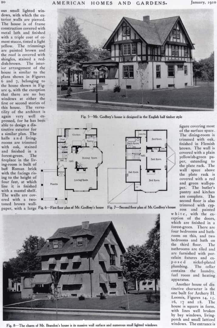 Two Oakcroft homes, from American Homes and Gardens magazine, Jan. 1910. Top, 7 Princeton Place. Bottom, 19 Princeton Place.