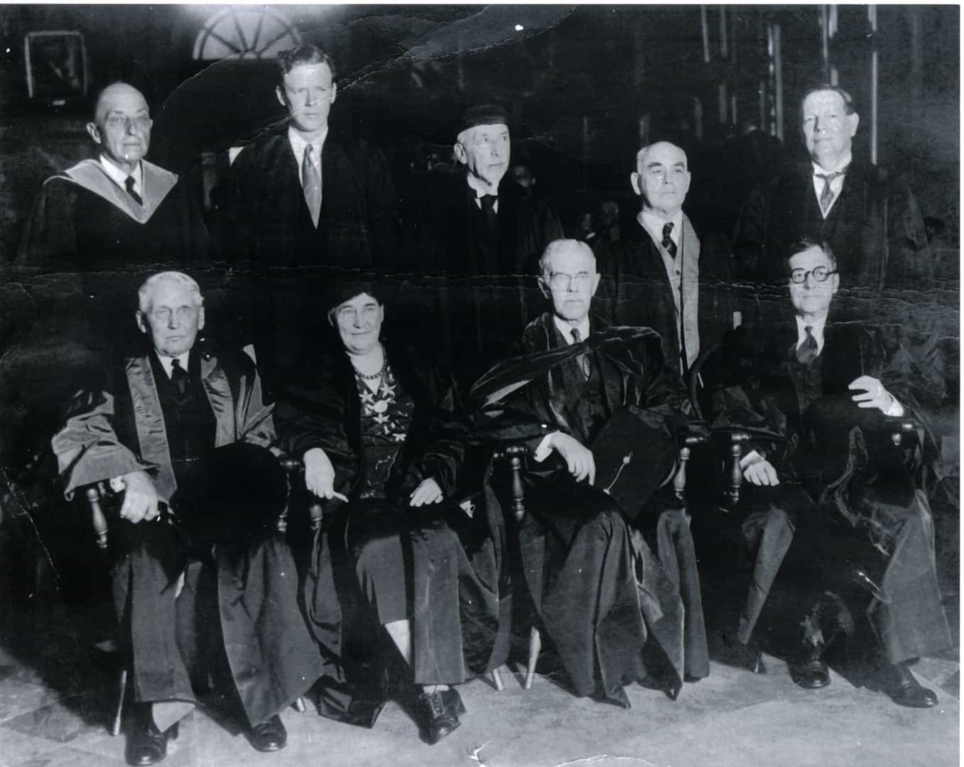 Princeton University honorary degree recipients, 1931. Aaron W. Godfrey is back row, second from right. Other recipients include Charles Lindbergh (back row, second from left) and Willa Cather (front row).