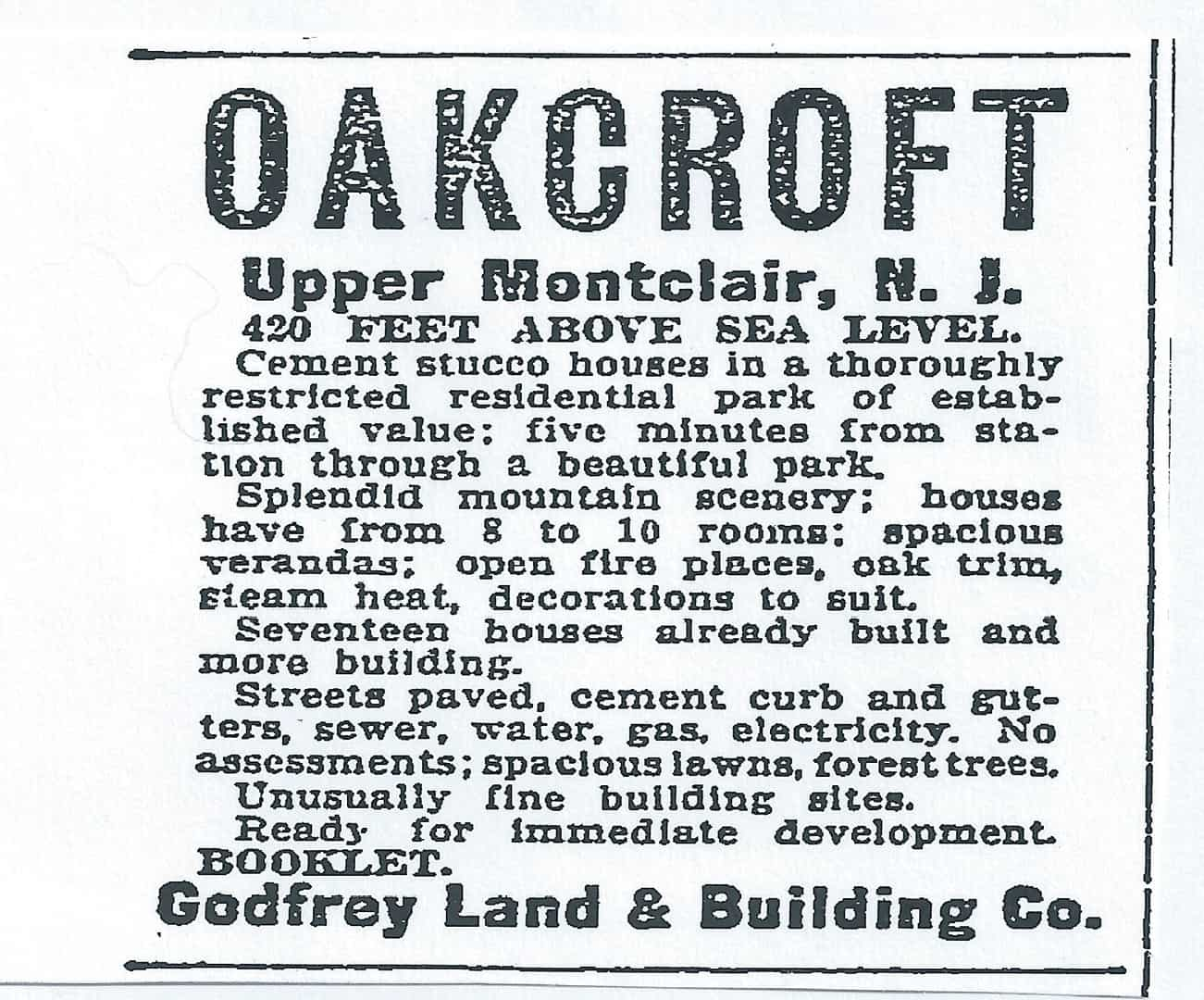 Newspaper classified advertisement promoting Oakcroft subdivision. The New York Times, April 24, 1910, pg. 17.