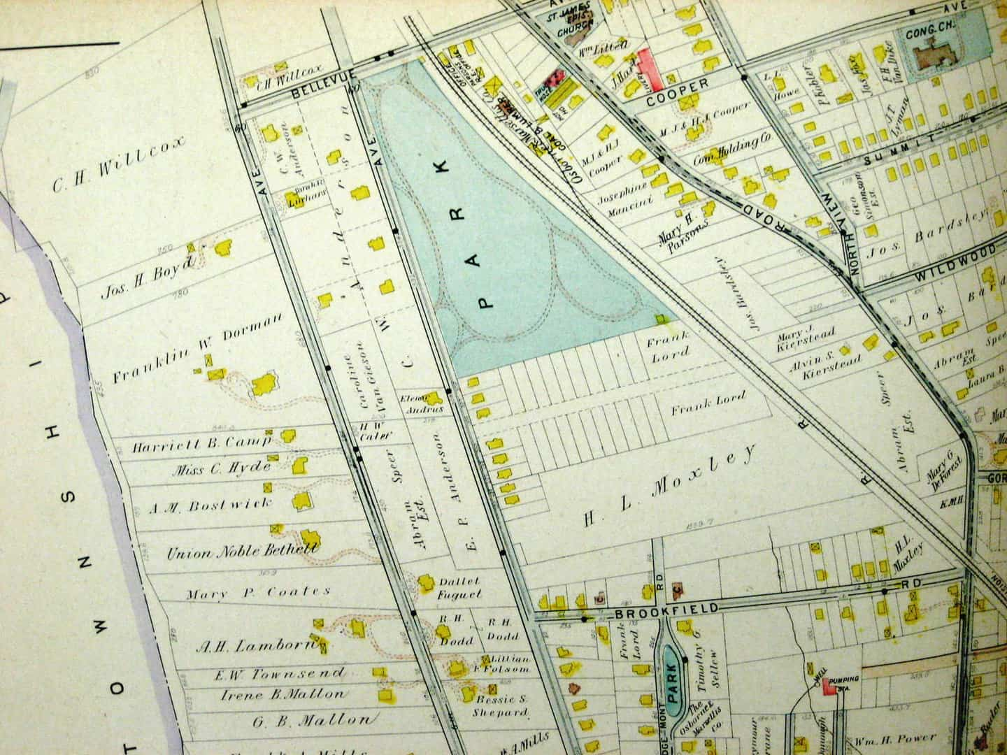 Anderson Park with an early, unrealized subdivision plat to the south before Aaron W. Godfrey bought the land, shown in a 1906 atlas.