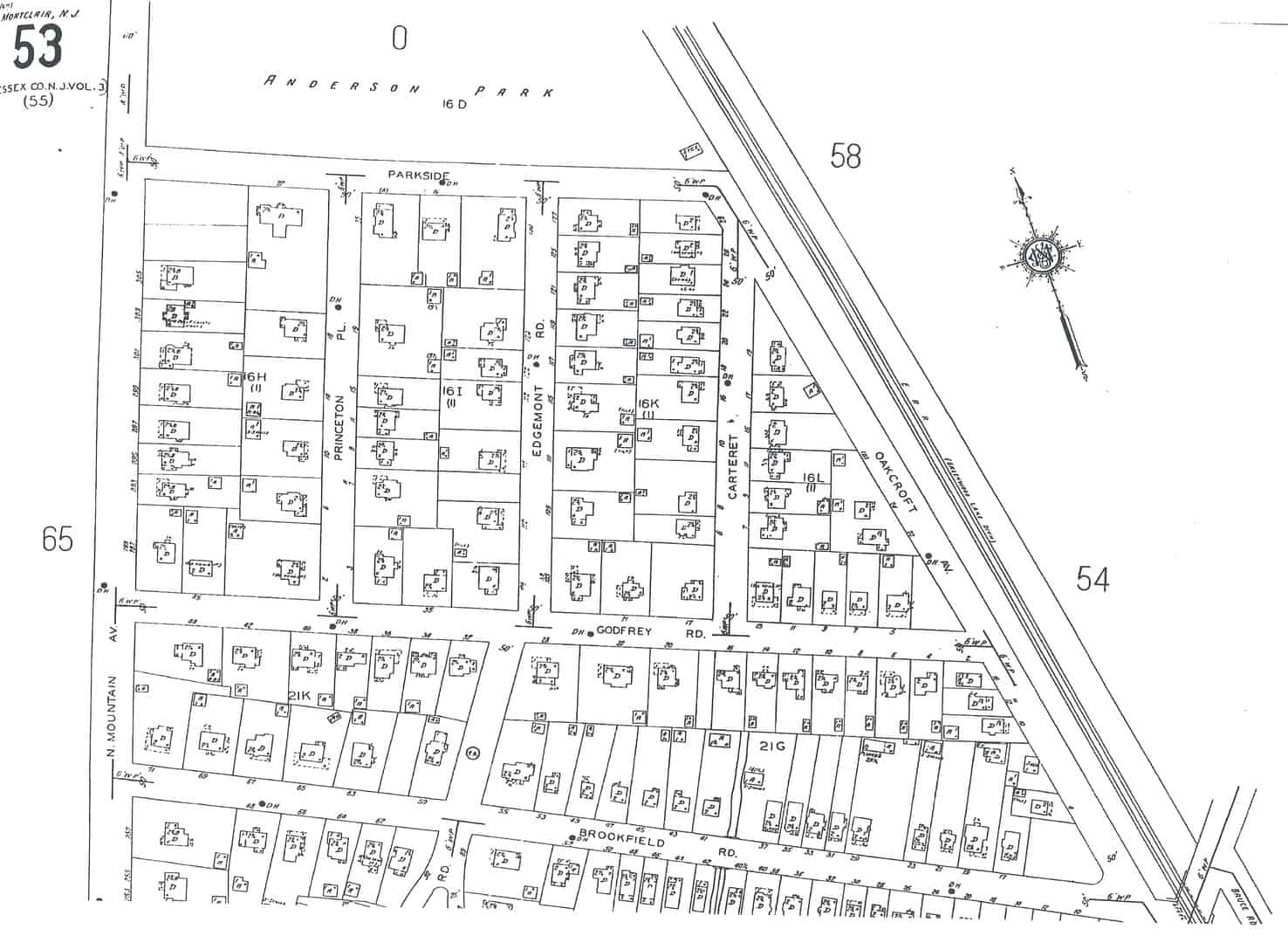 Map of the Oakcroft subdivision, built out. Sanborn map, 1934.