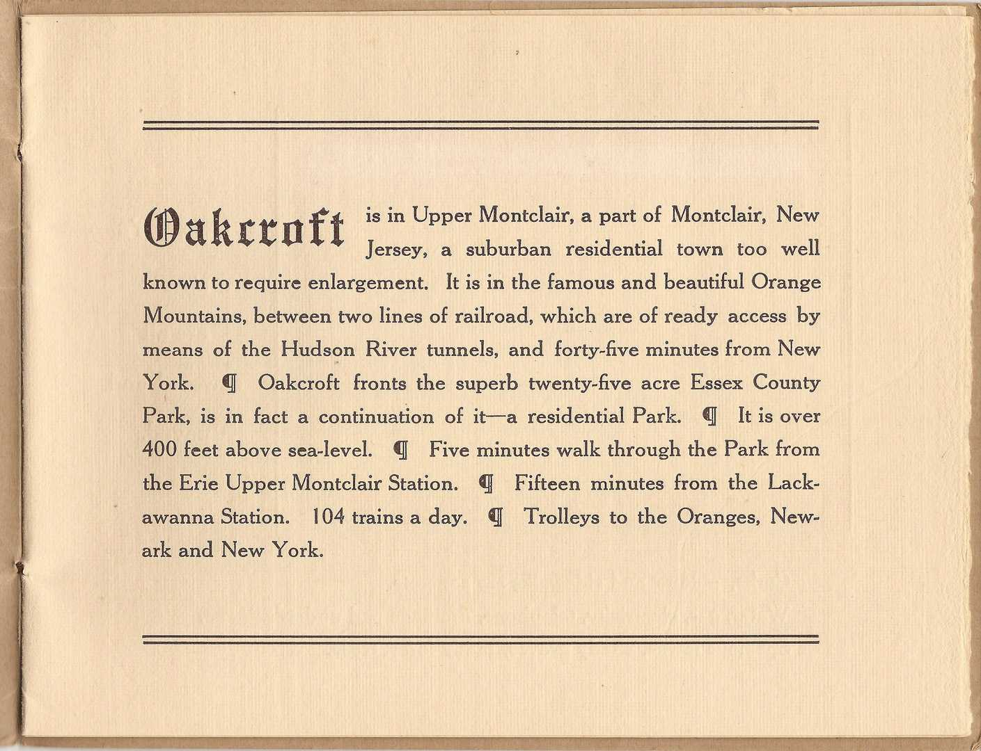 "A page from ""Godfrey Land and Building Co., Upper Montclair, New Jersey,"" a promotional booklet for the Oakcroft subdivision, circa 1908."