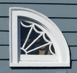 Attic fanlight window on house at 44 Godfrey Road