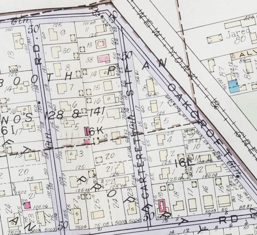 1933 map of the Oakcroft neighborhood